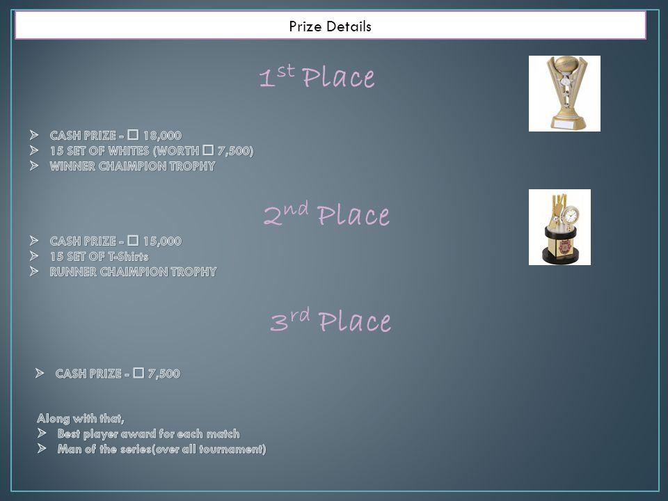 1 st Place Prize Details 2 nd Place 3 rd Place