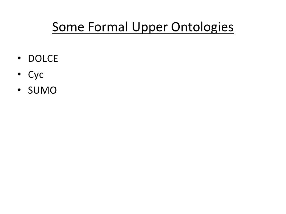Some Formal Upper Ontologies DOLCE Cyc SUMO