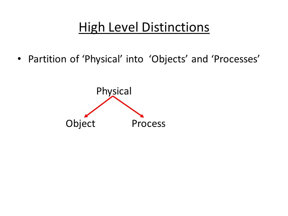 High Level Distinctions Partition of 'Physical' into 'Objects' and 'Processes' Physical Object Process