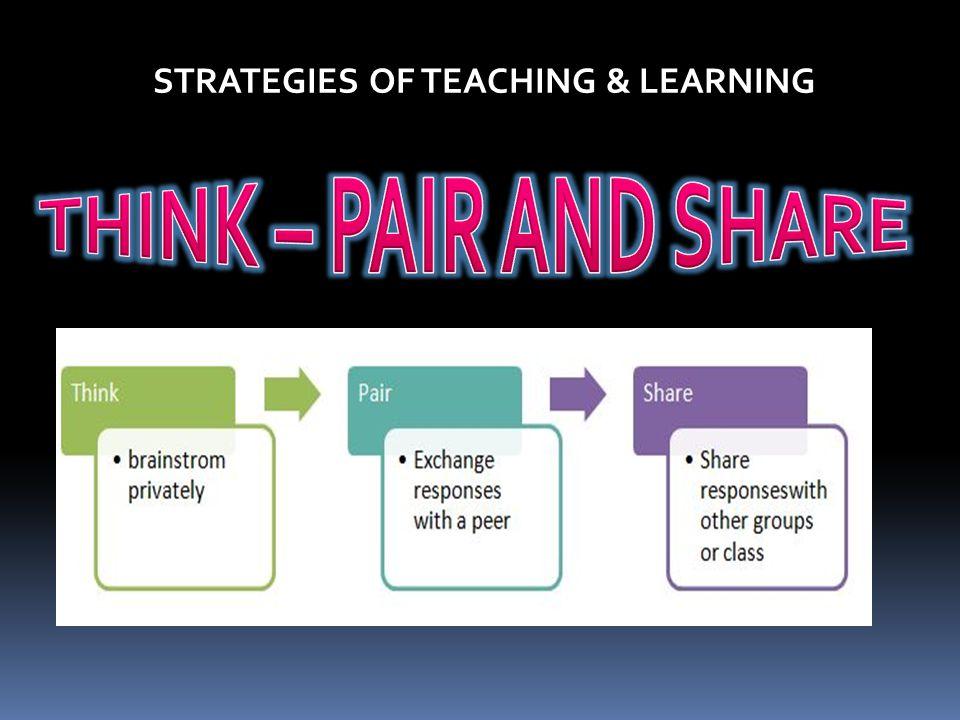 STRATEGIES OF TEACHING & LEARNING