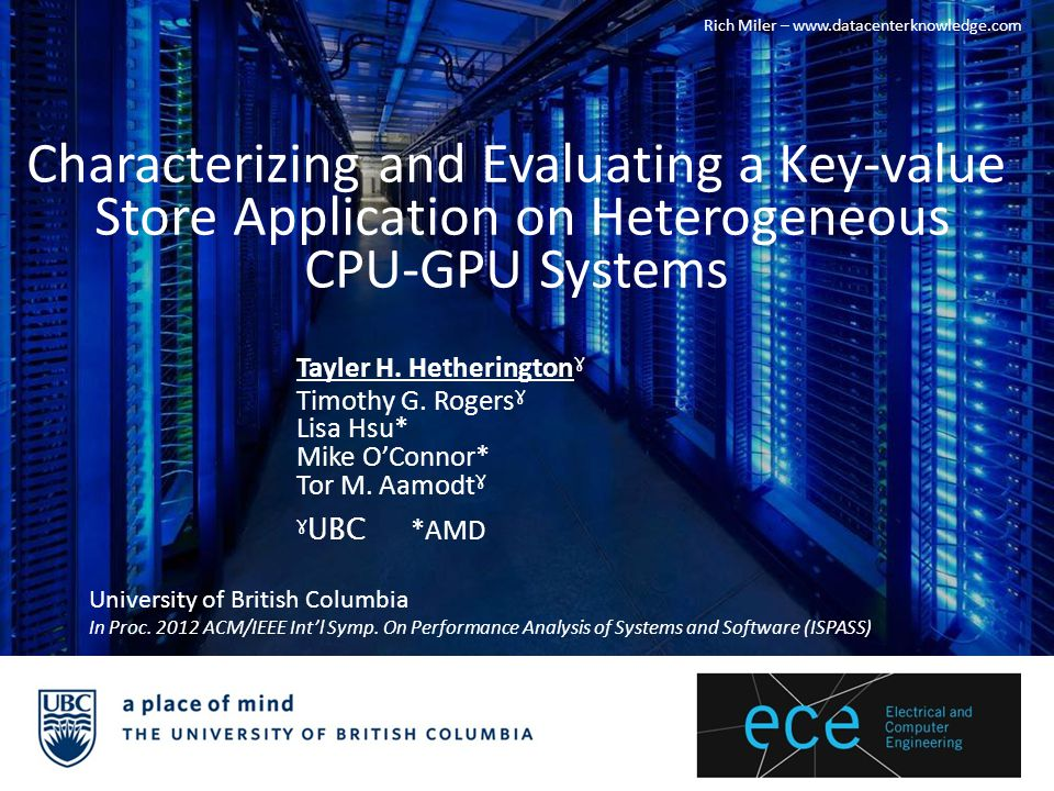 Server farms require a lot of power – Need for efficient, cost-effective solutions – GPU/APUs New types of workloads – Non-HPC – Server applications Server applications – Memcached Programmer's initial intuition into an application's behavior Motivation Tayler Hetherington, Timothy Rogers, Lisa Hsu, Mike O Connor, Tor M.