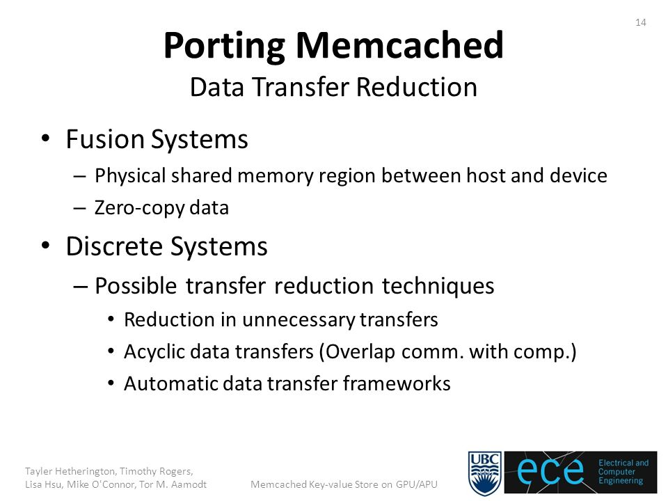 Porting Memcached Data Transfer Reduction Fusion Systems – Physical shared memory region between host and device – Zero-copy data Discrete Systems – Possible transfer reduction techniques Reduction in unnecessary transfers Acyclic data transfers (Overlap comm.