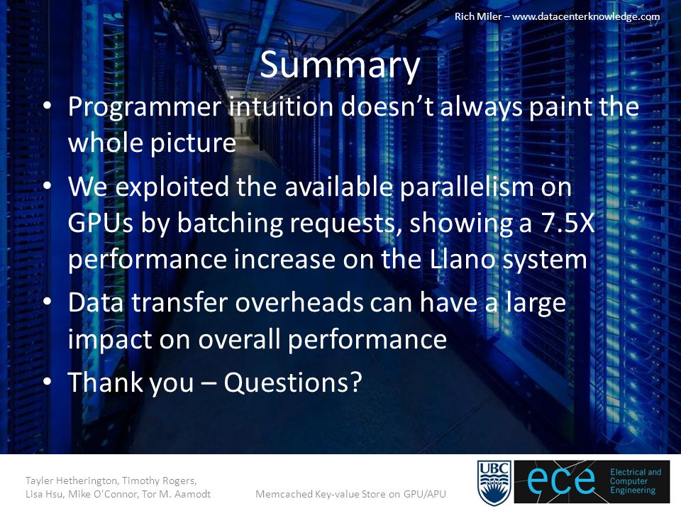 Summary Programmer intuition doesn't always paint the whole picture We exploited the available parallelism on GPUs by batching requests, showing a 7.5