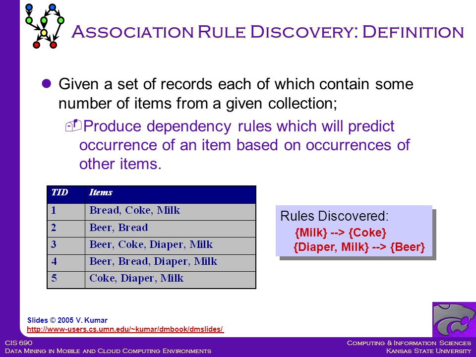 Computing & Information Sciences Kansas State University CIS 690 Data Mining in Mobile and Cloud Computing Environments Association Rule Discovery: Definition Given a set of records each of which contain some number of items from a given collection;  Produce dependency rules which will predict occurrence of an item based on occurrences of other items.