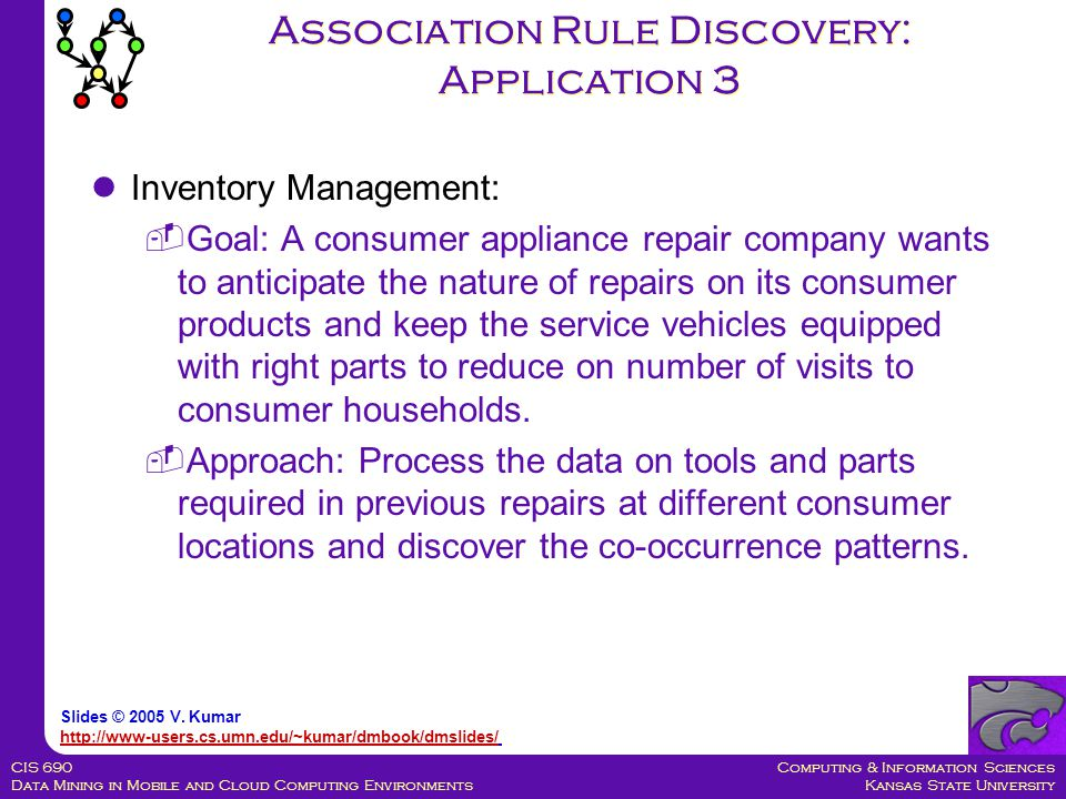 Computing & Information Sciences Kansas State University CIS 690 Data Mining in Mobile and Cloud Computing Environments Association Rule Discovery: Application 3 Inventory Management:  Goal: A consumer appliance repair company wants to anticipate the nature of repairs on its consumer products and keep the service vehicles equipped with right parts to reduce on number of visits to consumer households.