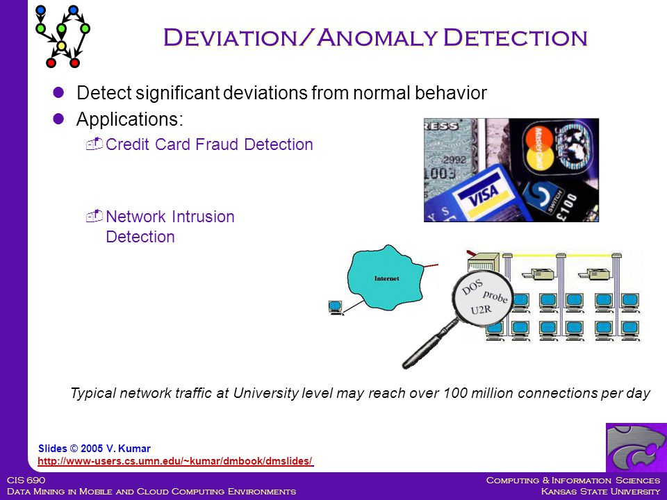 Computing & Information Sciences Kansas State University CIS 690 Data Mining in Mobile and Cloud Computing Environments Deviation/Anomaly Detection Detect significant deviations from normal behavior Applications:  Credit Card Fraud Detection  Network Intrusion Detection Typical network traffic at University level may reach over 100 million connections per day Slides © 2005 V.