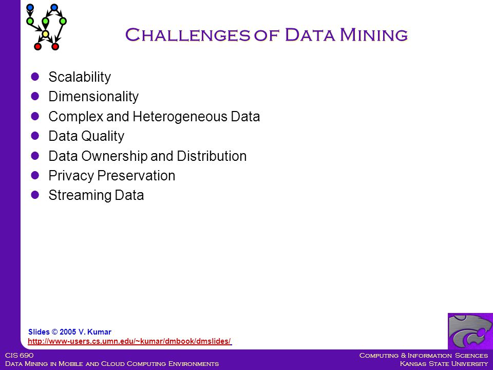 Computing & Information Sciences Kansas State University CIS 690 Data Mining in Mobile and Cloud Computing Environments Challenges of Data Mining Scalability Dimensionality Complex and Heterogeneous Data Data Quality Data Ownership and Distribution Privacy Preservation Streaming Data Slides © 2005 V.