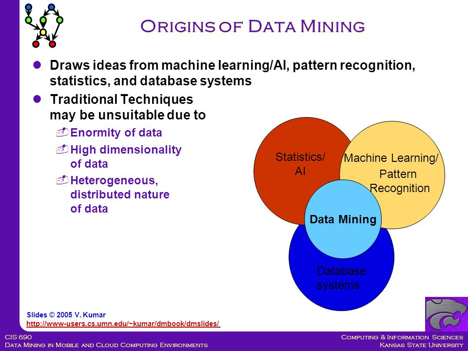 Computing & Information Sciences Kansas State University CIS 690 Data Mining in Mobile and Cloud Computing Environments Draws ideas from machine learning/AI, pattern recognition, statistics, and database systems Traditional Techniques may be unsuitable due to  Enormity of data  High dimensionality of data  Heterogeneous, distributed nature of data Origins of Data Mining Machine Learning/ Pattern Recognition Statistics/ AI Data Mining Database systems Slides © 2005 V.