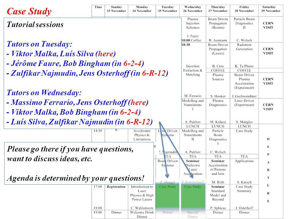 Case Study Tutorial sessions Tutors on Tuesday: - Viktor Malka, Luís Silva (here) - Jérôme Faure, Bob Bingham (in 6-2-4) - Zulfikar Najmudin, Jens Osterhoff (in 6-R-12) Tutors on Wednesday: - Massimo Ferrario, Jens Osterhoff (here) - Viktor Malka, Bob Bingham (in 6-2-4) - Luís Silva, Zulfikar Najmudin (in 6-R-12) Case Study Intro J.