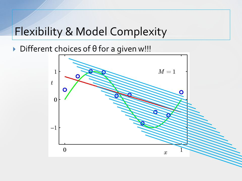 Flexibility & Model Complexity  Different choices of θ for a given w!!!