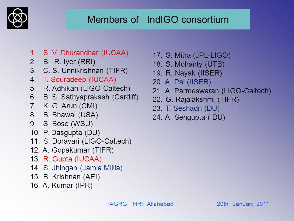 International Advisory Committee IAGRG, HRI, Allahabad 20th January 2011 1.