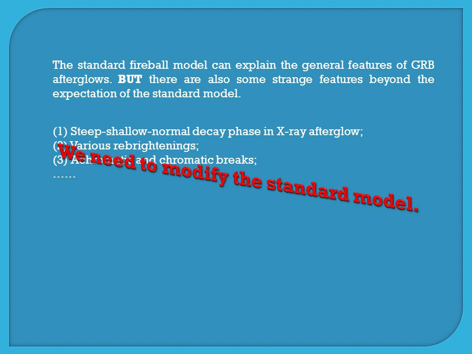 The standard fireball model can explain the general features of GRB afterglows.