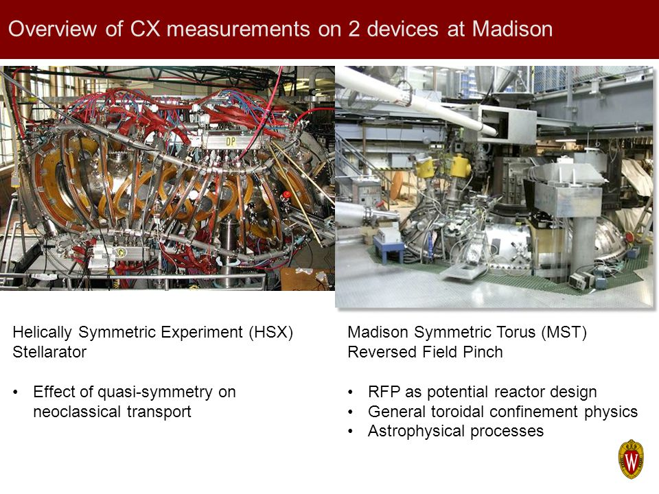 Overview of CX measurements on 2 devices at Madison Helically Symmetric Experiment (HSX) Stellarator Effect of quasi-symmetry on neoclassical transpor