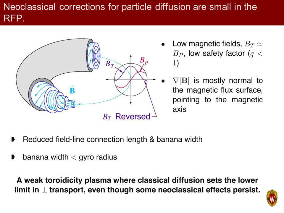 Neoclassical corrections for particle diffusion are small in the RFP.