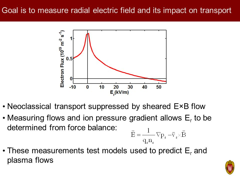 Goal is to measure radial electric field and its impact on transport Neoclassical transport suppressed by sheared E×B flow Measuring flows and ion pre