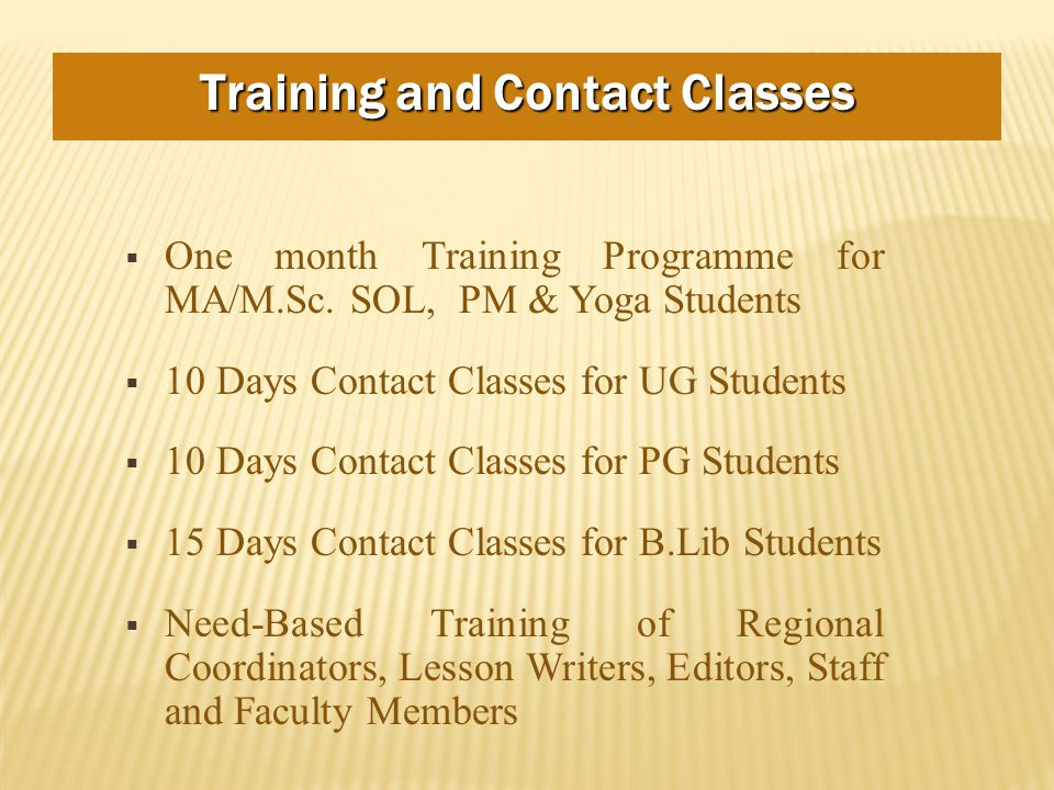  One month Training Programme for MA/M.Sc.