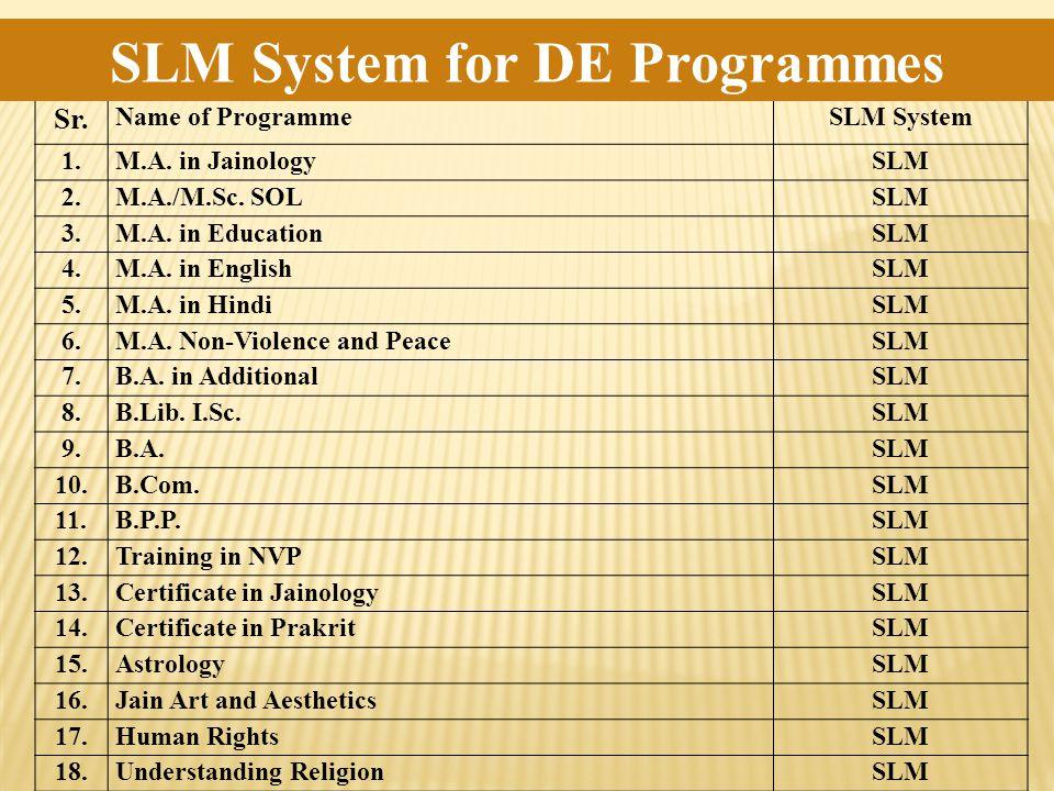 Sr. Name of ProgrammeSLM System 1.M.A. in JainologySLM 2.M.A./M.Sc.