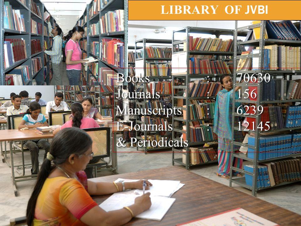 LIBRARY OF JVBI Books:70630 Journals:156 Manuscripts:6239 E-Journals:12145 & Periodicals Books:70630 Journals:156 Manuscripts:6239 E-Journals:12145 & Periodicals