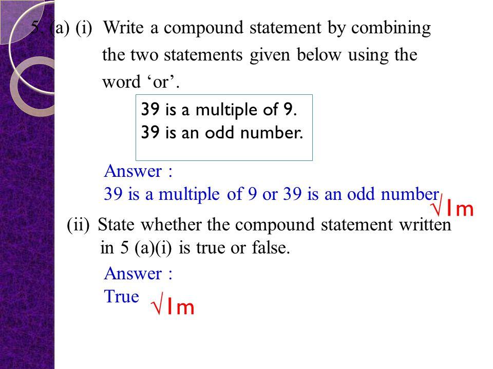 Answer : ( a ) (b) √1m