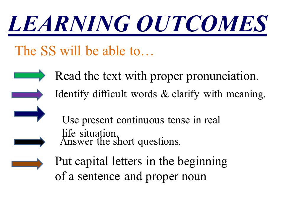 LEARNING OUTCOMES The SS will be able to…. Read the text with proper pronunciation. Identify difficult words & clarify with meaning. Use present conti