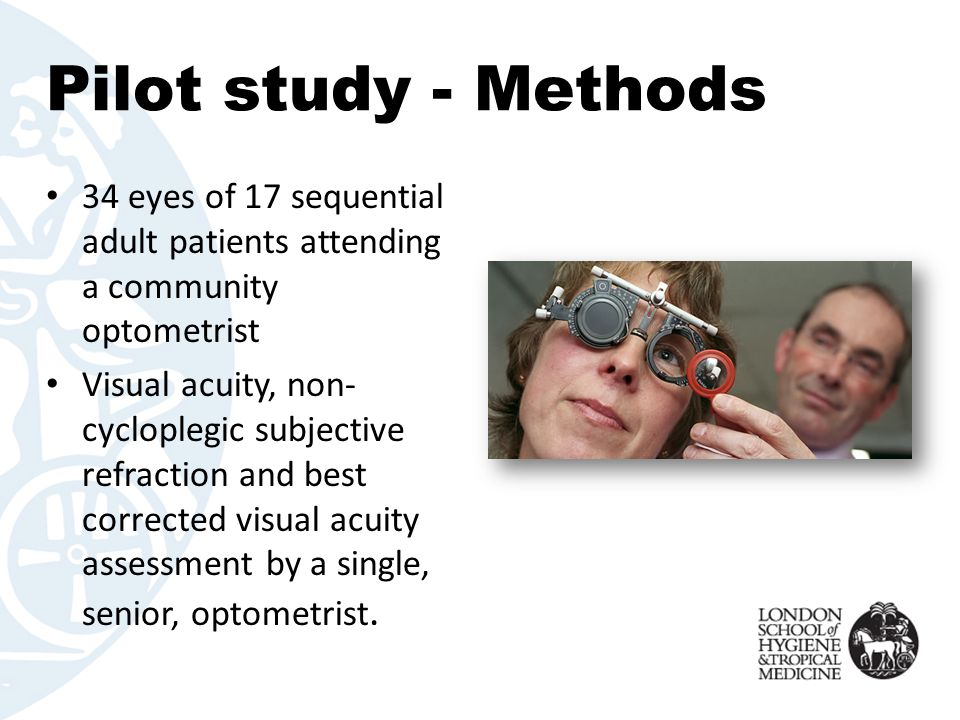Pilot study - Methods 34 eyes of 17 sequential adult patients attending a community optometrist Visual acuity, non- cycloplegic subjective refraction and best corrected visual acuity assessment by a single, senior, optometrist.