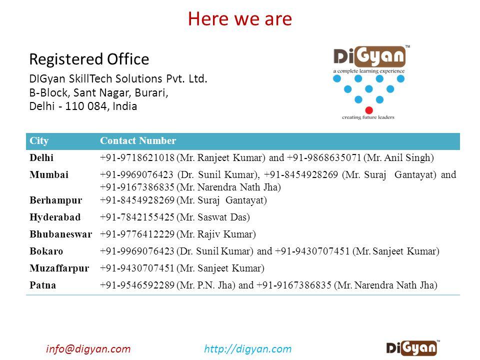 info@digyan.comhttp://digyan.com Here we are Registered Office DIGyan SkillTech Solutions Pvt. Ltd. B-Block, Sant Nagar, Burari, Delhi - 110 084, Indi