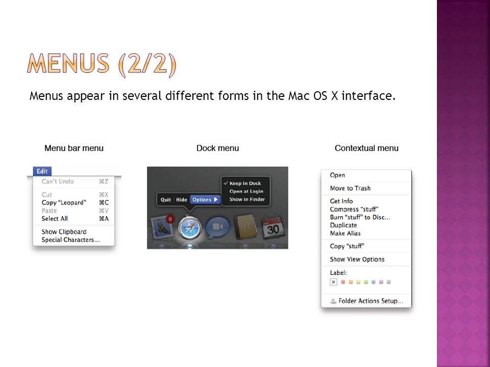 Menus appear in several different forms in the Mac OS X interface.