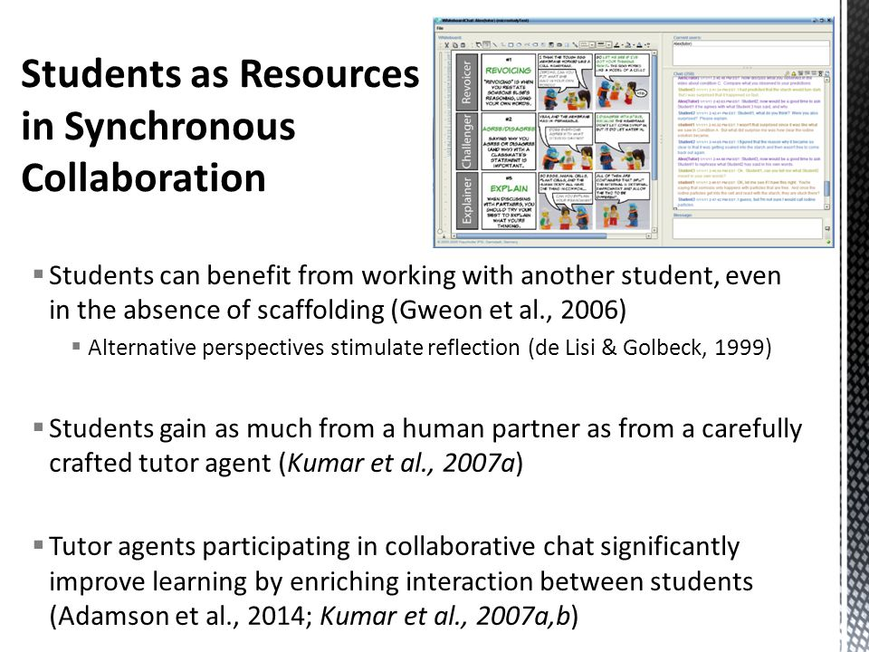  Students can benefit from working with another student, even in the absence of scaffolding (Gweon et al., 2006)  Alternative perspectives stimulate reflection (de Lisi & Golbeck, 1999)  Students gain as much from a human partner as from a carefully crafted tutor agent (Kumar et al., 2007a)  Tutor agents participating in collaborative chat significantly improve learning by enriching interaction between students (Adamson et al., 2014; Kumar et al., 2007a,b)