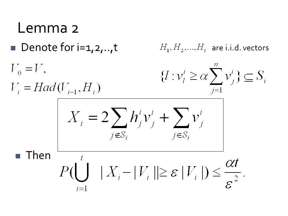 Lemma 2 Denote for i=1,2,..,t Then are i.i.d. vectors
