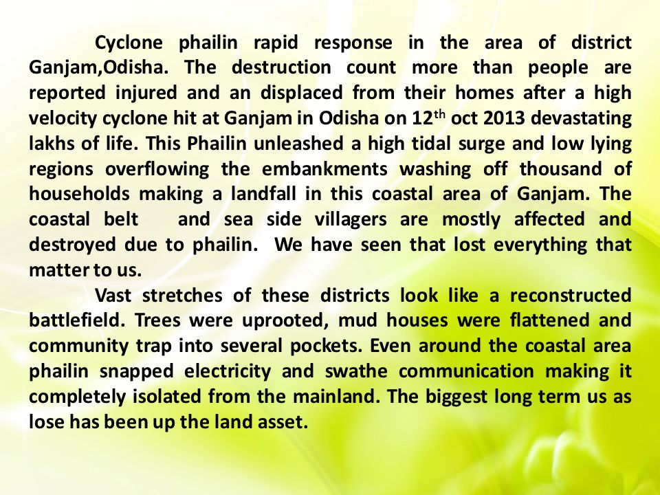 Cyclone phailin rapid response in the area of district Ganjam,Odisha.