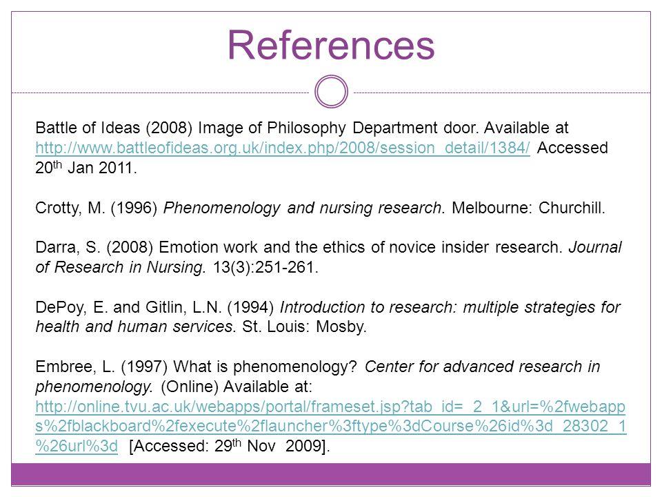 References Battle of Ideas (2008) Image of Philosophy Department door.