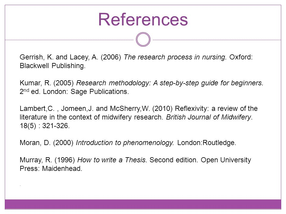 References Gerrish, K. and Lacey, A. (2006) The research process in nursing.