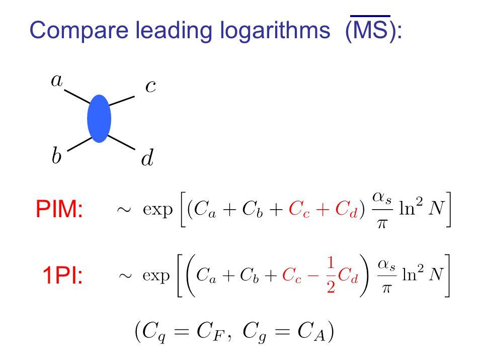 PIM: 1PI: Compare leading logarithms (MS):