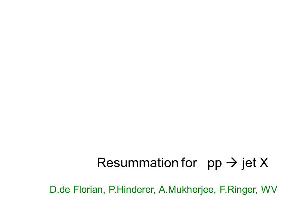  Resummation for pp  jet X D.de Florian, P.Hinderer, A.Mukherjee, F.Ringer, WV
