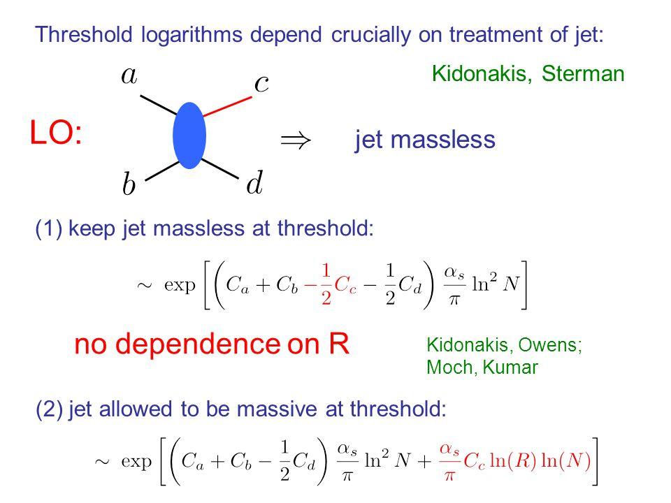 Threshold logarithms depend crucially on treatment of jet: Kidonakis, Sterman (1) keep jet massless at threshold: no dependence on R Kidonakis, Owens; Moch, Kumar (2) jet allowed to be massive at threshold: LO: jet massless