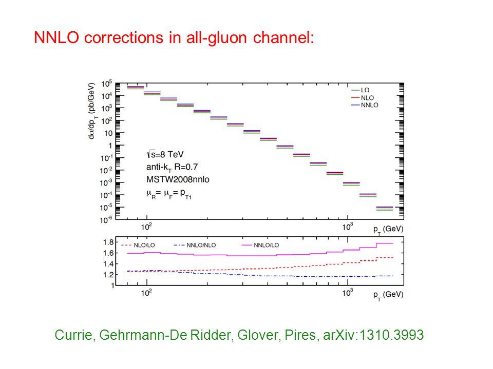NNLO corrections in all-gluon channel: Currie, Gehrmann-De Ridder, Glover, Pires, arXiv:1310.3993