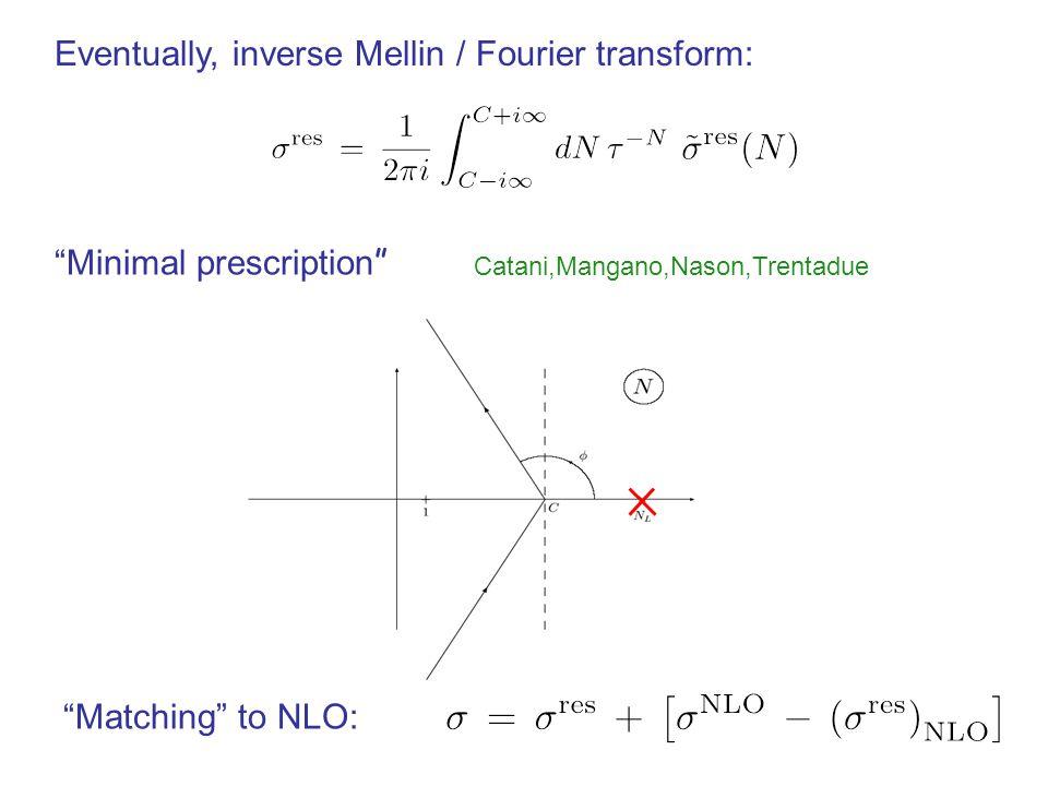 Eventually, inverse Mellin / Fourier transform: Matching to NLO: Catani,Mangano,Nason,Trentadue Minimal prescription