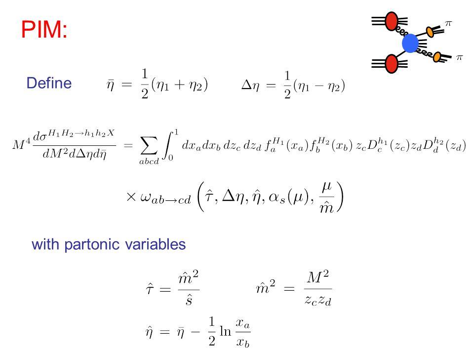 with partonic variables Define PIM: