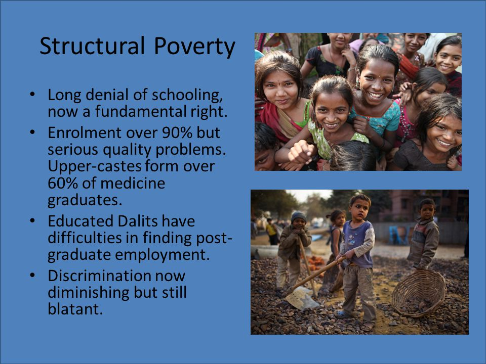Structural Poverty Long denial of schooling, now a fundamental right.