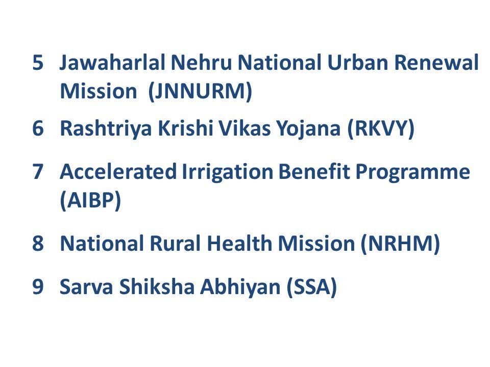 5Jawaharlal Nehru National Urban Renewal Mission (JNNURM) 6Rashtriya Krishi Vikas Yojana (RKVY) 7Accelerated Irrigation Benefit Programme (AIBP) 8Nati