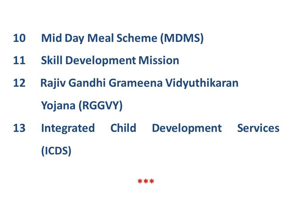 10 Mid Day Meal Scheme (MDMS) 11 Skill Development Mission 12 Rajiv Gandhi Grameena Vidyuthikaran Yojana (RGGVY) 13Integrated Child Development Servic