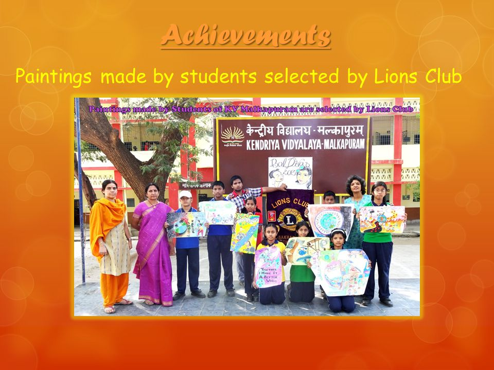 Paintings made by students selected by Lions Club Achievements