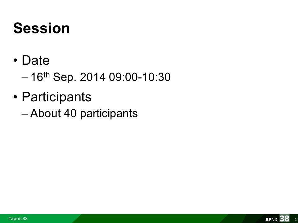 Session Date –16 th Sep. 2014 09:00-10:30 Participants –About 40 participants 3