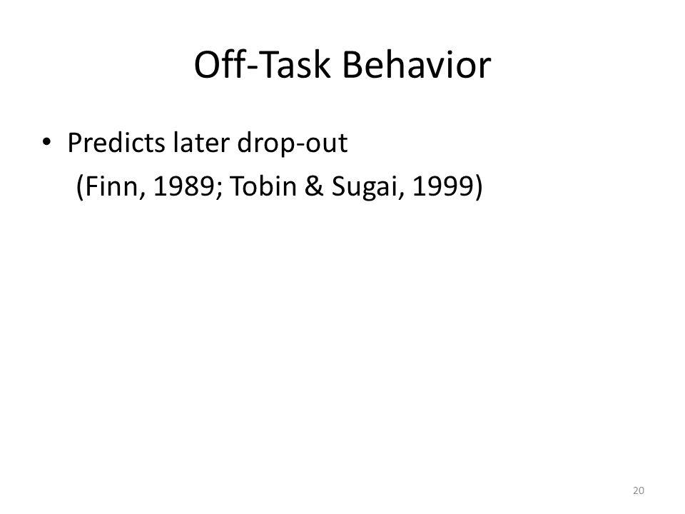 Off-Task Behavior Predicts later drop-out (Finn, 1989; Tobin & Sugai, 1999) 20
