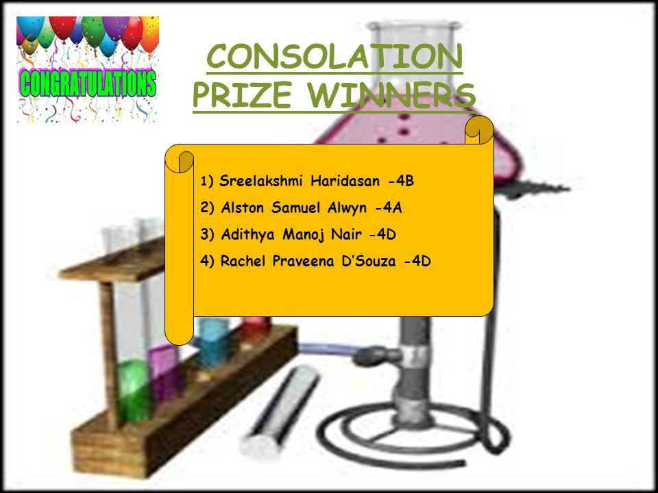 CONSOLATION PRIZE WINNERS 1 ) Sreelakshmi Haridasan -4B 2) Alston Samuel Alwyn -4A 3) Adithya Manoj Nair -4D 4) Rachel Praveena D'Souza -4D