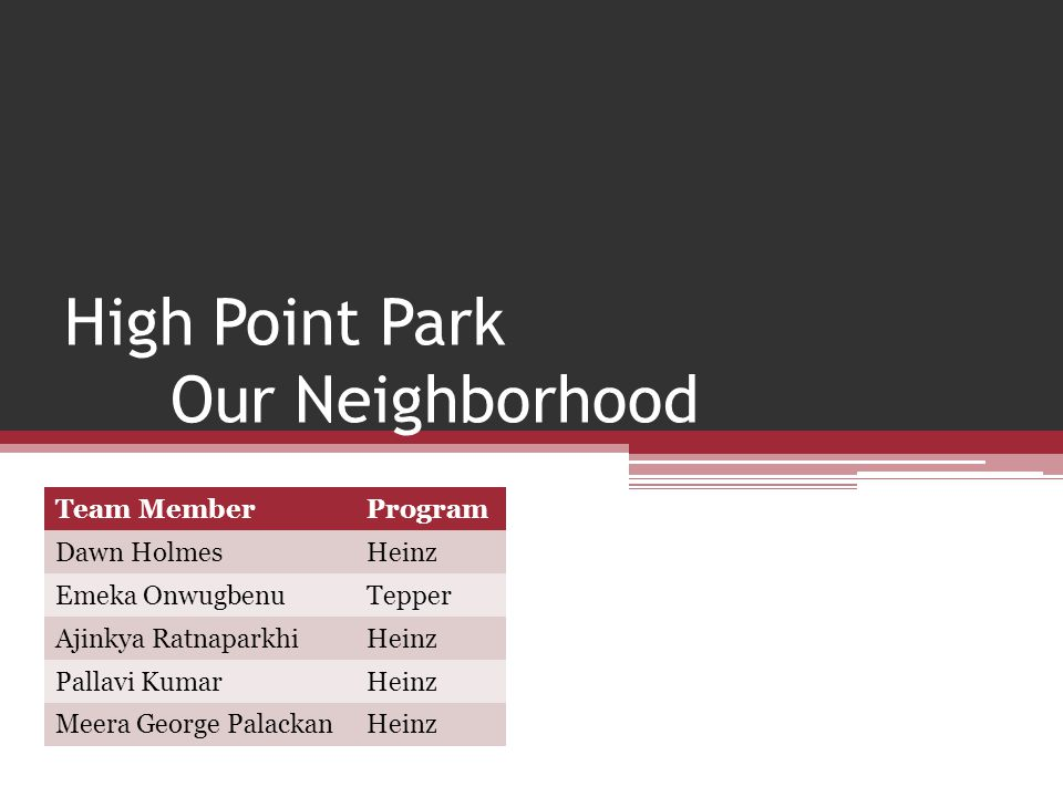 High Point Park Our Neighborhood Team MemberProgram Dawn HolmesHeinz Emeka OnwugbenuTepper Ajinkya RatnaparkhiHeinz Pallavi KumarHeinz Meera George PalackanHeinz