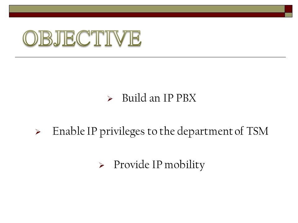  Build an IP PBX  Enable IP privileges to the department of TSM  Provide IP mobility