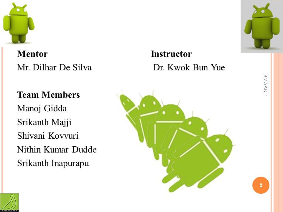 Mentor Instructor Mr. Dilhar De Silva Dr. Kwok Bun Yue Team Members Manoj Gidda Srikanth Majji Shivani Kovvuri Nithin Kumar Dudde Srikanth Inapurapu S