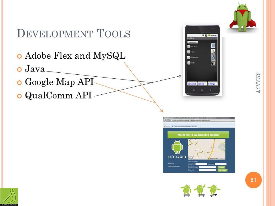 D EVELOPMENT T OOLS Adobe Flex and MySQL Java Google Map API QualComm API SMAART 21
