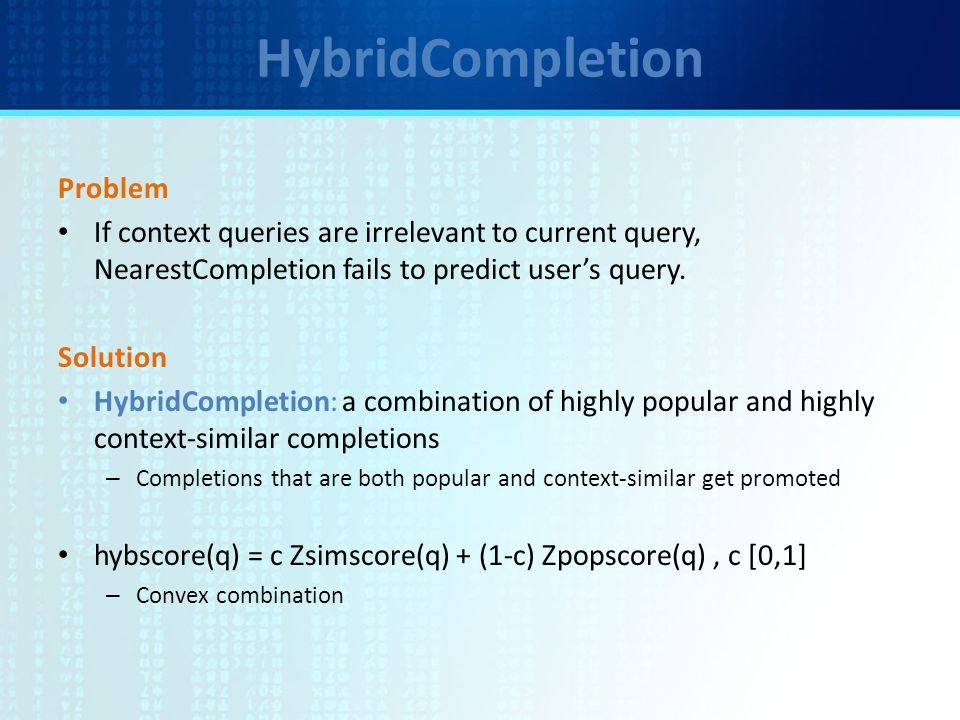 HybridCompletion Problem If context queries are irrelevant to current query, NearestCompletion fails to predict user's query.